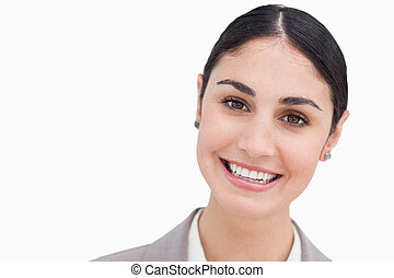 Close up of smiling businesswoman