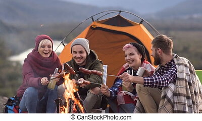 Close-up of smiling happy company of four young friends having a picnic by the mountains, they are chatting, laughing, drinking beer and bake sausages on bonfire. Being happy, young and free, tourism concept. Dolly shot