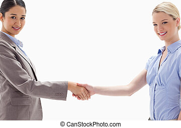 Close-up of smiling women shaking hands