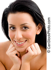 close up of smiling young woman with white background