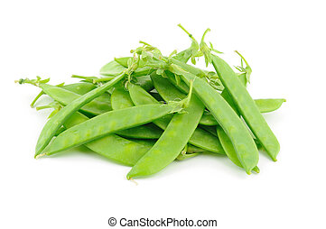 Close up of snow peas isolated on white