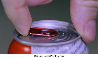 Close up of soda or beer can opening theme sound of opening cans. 4k.