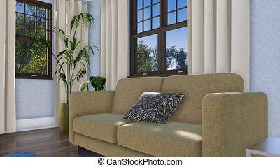Close-up of sofa in modern living room interior 3D -...