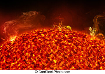 solar flares on sun surface, 3d illustration