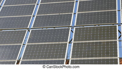 Close-up of solar panels of alternative energy. Energy...
