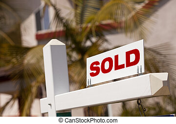 Close-up of Sold Real Estate Sign