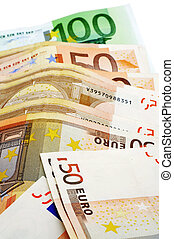 euro bills - close up of some 50 and 100 euro bills