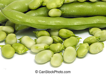 broad bean - close up of some broad beans and some broad...
