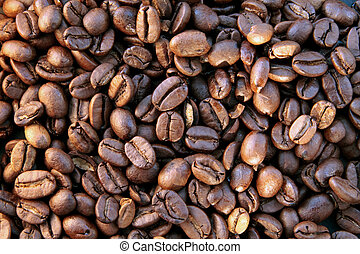 Close up of some coffee beans