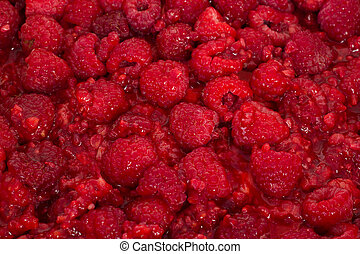 Close-up of some fresh raspberries