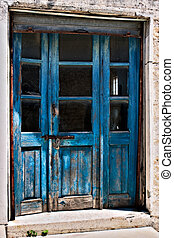 Close-up of some old doors in Omodhos Cyprus