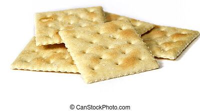 Close up of soup crackers