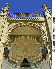 Close up of southern facade of Vorontsov palace, Alupka,...
