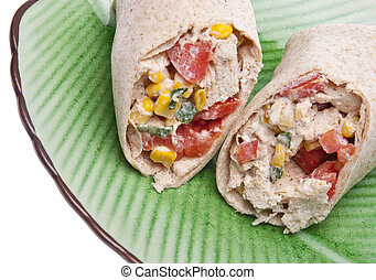 Close Up of Southwestern Chicken Salad Wrap on a Green Plate.