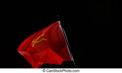 Close up of Soviet Union Waving in Wind. Super Slow Motion.
