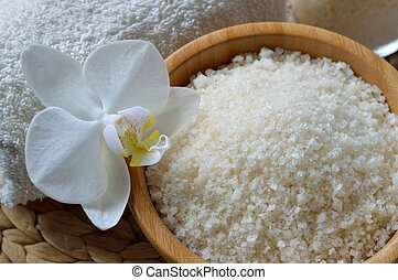 Close up of spa set with salt bath. Thermal spring bath salt...