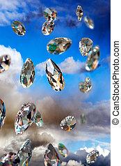 sparkling diamonds - Close up of sparkling diamonds on ...