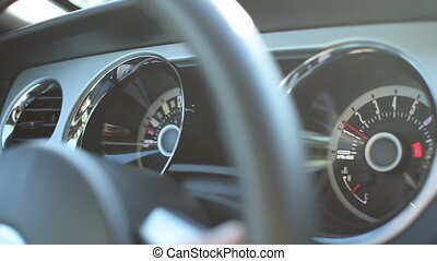 Close up of Speedometer in Ford Mustang Muscle Car Driving, Sunshine HD