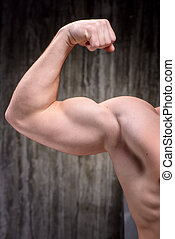 Close up of sporty man demonstrating biceps