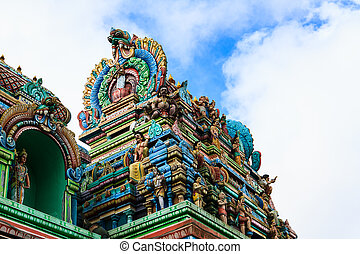 Close up of SRI ARULOLI THIRUMURUGAN Temple with blue sky ,...
