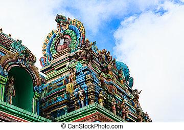 Close up of SRI ARULOLI THIRUMURUGAN Temple with blue sky ,...