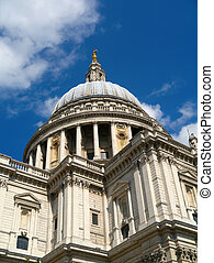 Close up of St Paul's Cathedral in London UK.