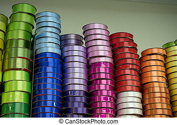 stack of colorful ribbon