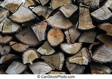 Close up of stacked firewood