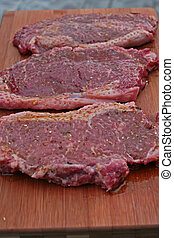 close up of steaks on a cutting board