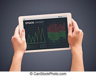 Close up of stock market diagram