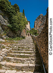 Close-up of stone staircase to the Notre-Dame de Beauvoir church, above the village of Moustiers-Sainte-Marie.