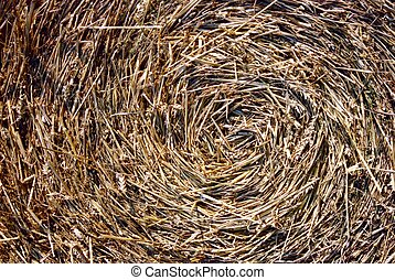Close-up of straw bales