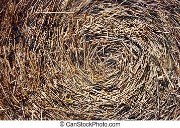 Close-up of straw bales