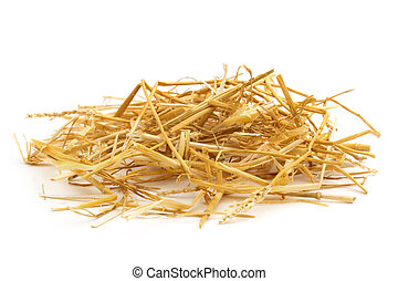 close up of straw isolated on white background