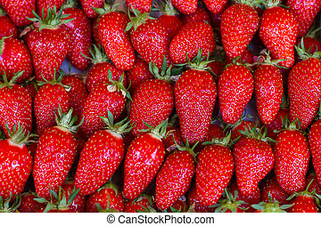 close up of strawberry on market