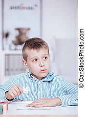 Autistic child during classes