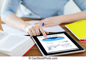 close up of student with pie chart on tablet pc