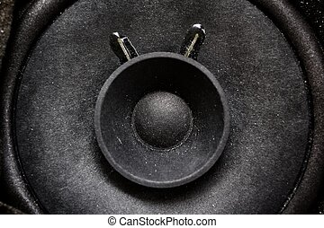 Close-up of sub woofer - Close-up of subwoofer black speaker...