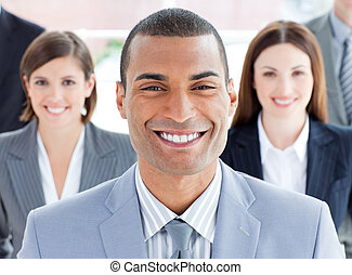 Close-up of successful business team