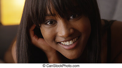 Close up of sultry black woman