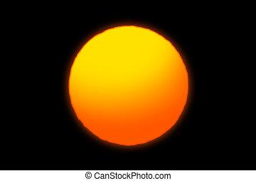 Close up of sunset on black background