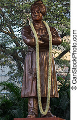 The statue stands in the middle of a roundabout in Bengaluru. The Swami was an international promotor of Hinduism.