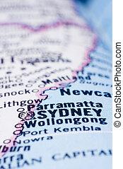 close up of Sydney on map, Australia