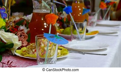 close-up of table with food restaurant cafe birthday -...