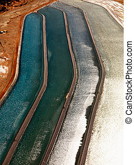Close up of tailings pond. - Aerial detail of tailing ponds...