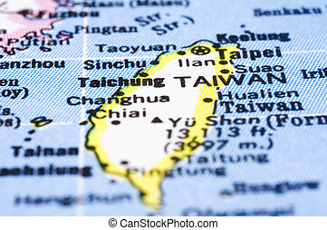 close up of Taiwan on map