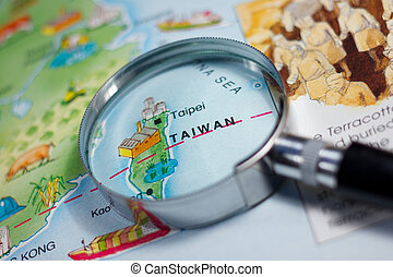 Taiwan - Close up of Taiwan on map