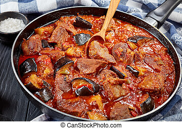 close-up of tatsy Aubergine Beef Stew