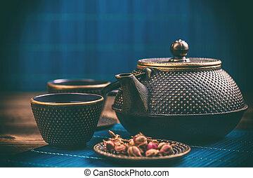 Close up of tea set