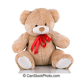 Close up of teddy bear. Isolated on a white background.